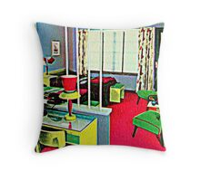 Retro Hotel Room Throw Pillow