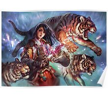 Female Samurai with tigers Poster