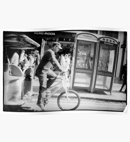 Man on rickshaw oxford street London Poster