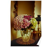 Vase of Hydrangeas in Antique Wash Poster