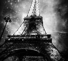 Eiffel Tower, Starry Night, Black and White by Linde Stewart