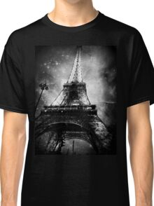 Eiffel Tower, Starry Night, Black and White Classic T-Shirt