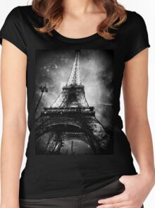 Eiffel Tower, Starry Night, Black and White Women's Fitted Scoop T-Shirt
