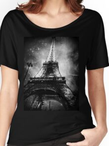 Eiffel Tower, Starry Night, Black and White Women's Relaxed Fit T-Shirt