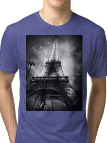 Eiffel Tower, Starry Night, Black and White Tri-blend T-Shirt