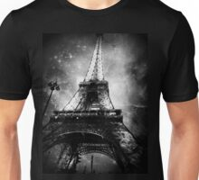 Eiffel Tower, Starry Night, Black and White Unisex T-Shirt