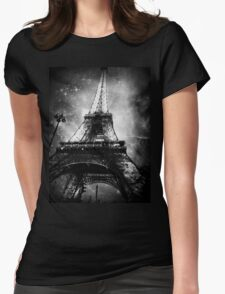 Eiffel Tower, Starry Night, Black and White Womens Fitted T-Shirt