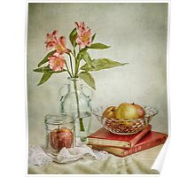 Lillies and apples Poster