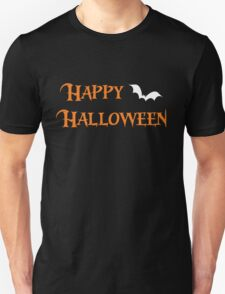Happy Halloween Text With White Bat T-Shirt