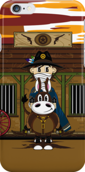Cute Cowboy Sheriff on Horse at Jailhouse by MurphyCreative