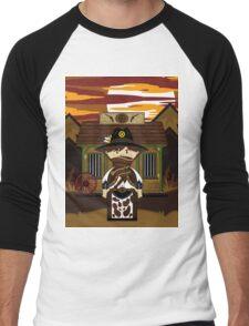 Cute Cowboy Sheriff at Jailhouse Men's Baseball ¾ T-Shirt