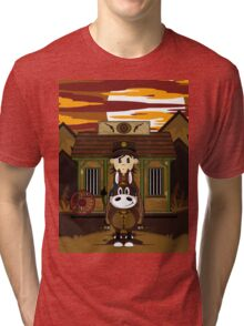 Cute Cowboy Sheriff on Horse at Jailhouse Tri-blend T-Shirt