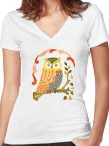 Lovely Cute Owl Women's Fitted V-Neck T-Shirt