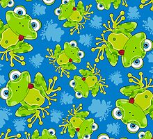 Cute Little Frog and Pattern by MurphyCreative