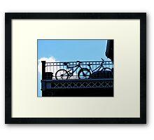 bikes in bondage blue Framed Print