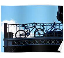 bikes in bondage blue Poster