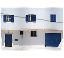blue doors, blue windows, white walls Poster
