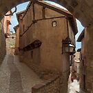 Narrow streets and archways of Albarracin, Aragon, Spain by Andrew Jones