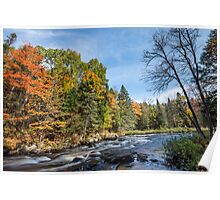 Rich colors of an autumn forest on a stony riverside Poster