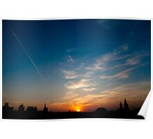 European town sunset Poster