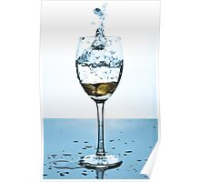 Splash of water and coins in a glass Poster