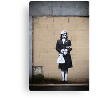 chic shopping gal with beret in paris Canvas Print