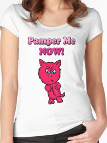 Pink Angry Kitty Women's Fitted Scoop T-Shirt