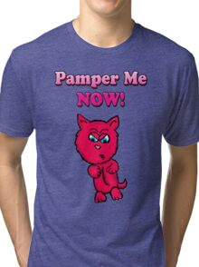 Pink Angry Kitty Tri-blend T-Shirt