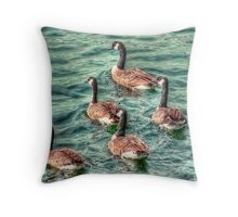 Five Geese a Swimming Throw Pillow