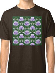 Purple Flowers Lace On Green Field Pattern Classic T-Shirt