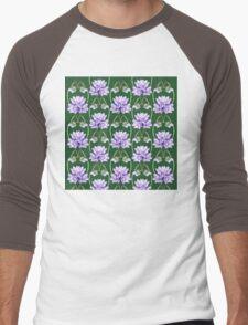Purple Flowers Lace On Green Field Pattern Men's Baseball ¾ T-Shirt