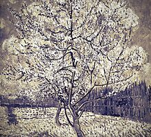 Vincent van Gogh - The Pink Peach Tree (Black and White) by lifetree