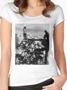 New Yorker Sitting On A Ledge Women's Fitted Scoop T-Shirt