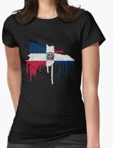 Dominican Republic Paint Drip Womens Fitted T-Shirt