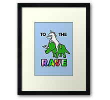 To The Rave! (Unicorn Riding Triceratops) Framed Print