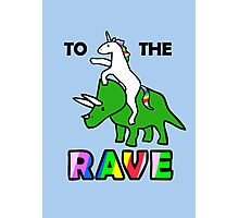 To The Rave! (Unicorn Riding Triceratops) Photographic Print
