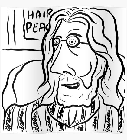 Hair Peace: Digital John Lennon Caricature Poster
