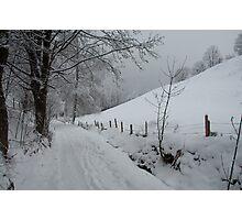 Snowy path near Thumersbach Photographic Print