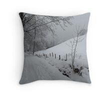 Snowy path near Thumersbach Throw Pillow
