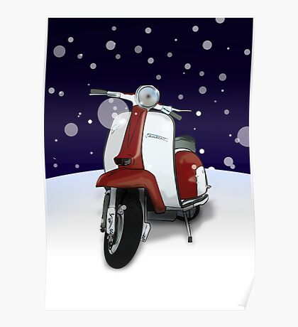 Mod Scooter (Lambretta) Special Christmas Card Poster