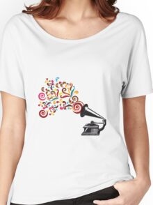 Abstract swirl background with record player Women's Relaxed Fit T-Shirt