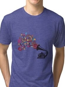 Abstract swirl background with record player Tri-blend T-Shirt