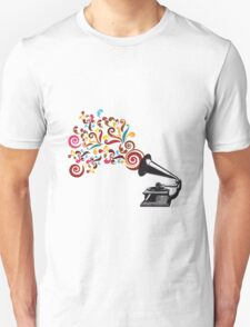 Abstract swirl background with record player Unisex T-Shirt