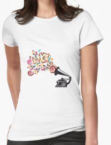 Abstract swirl background with record player Womens Fitted T-Shirt