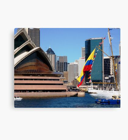 The Colombian national flag against a national icon Canvas Print