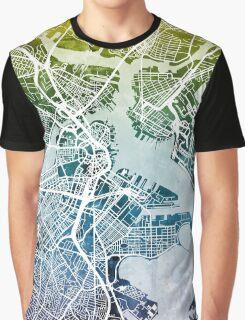 Boston Massachusetts Street Map Graphic T-Shirt