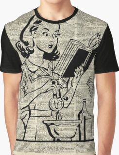 Cooking Girl over Old  Book Page Graphic T-Shirt