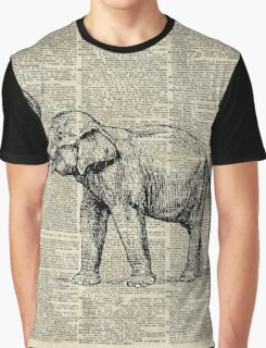 Vintage Illustration Of Happy Elephant over Old Dictionary Book Page  Graphic T-Shirt