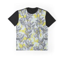 Leaf and Berry Sketch Pattern in Mustard and Ash Graphic T-Shirt