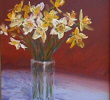 Joyful daffodils in oil by Hugh Cross